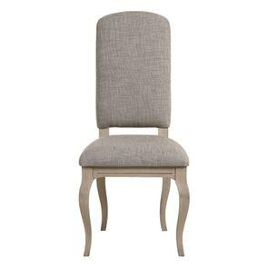 Chaise en hévéa massif et tissu losange gris - Romy