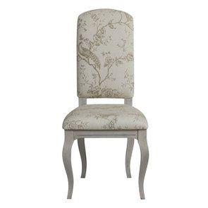 Chaise en tissu paradisier et hévéa gris argenté  - Romy