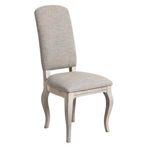 Chaise en hévéa et tissu losange gris - Romy - Visuel n°2
