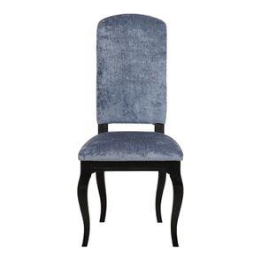Chaise en hévéa massif et tissu velours bleu - Romy