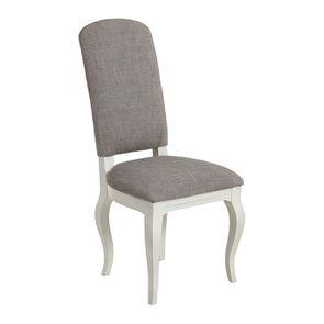 Chaise en tissu gris chambray et hévéa massif - Romy - Visuel n°2