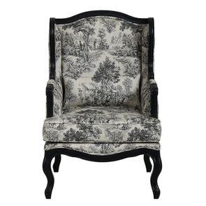 Fauteuil bergère en tissu toile de Jouy gris anthracite et piétements noirs - Césarine