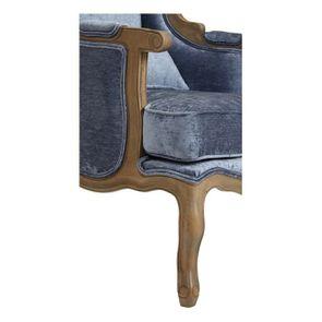 Fauteuil bergère en tissu velours bleu - Césarine - Visuel n°6