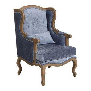 Fauteuil bergère en tissu velours bleu - Césarine - Visuel n°2
