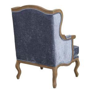 Fauteuil bergère en tissu velours bleu - Césarine - Visuel n°3