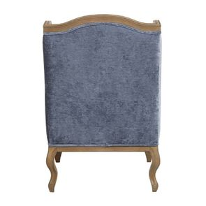 Fauteuil bergère en tissu velours bleu - Césarine - Visuel n°4