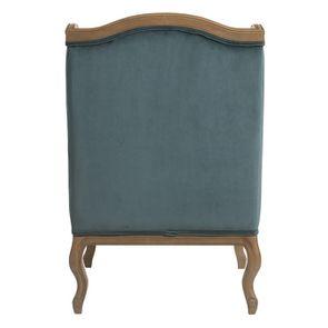 Fauteuil en velours bleuté et frêne massif - Césarine - Visuel n°5