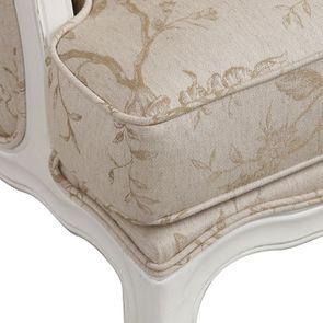 Fauteuil bergère en hévéa blanc et tissu paradisier - Césarine - Visuel n°9