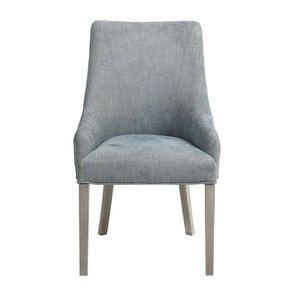 Fauteuil de table en tissu bleu chambray - Jude
