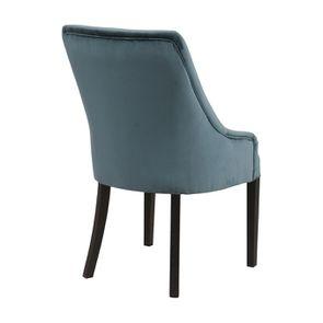 Fauteuil de table en hévéa et tissu velours vert bleuté - Jude - Visuel n°4