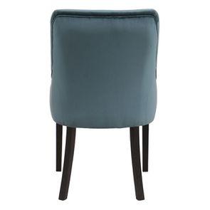 Fauteuil de table en hévéa et tissu velours vert bleuté - Jude - Visuel n°5