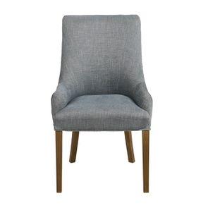 Fauteuil de table en tissu bleu chambray et frêne massif - Jude - Visuel n°2