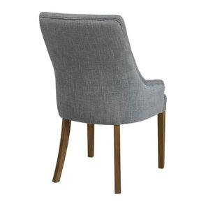 Fauteuil de table en tissu bleu chambray et frêne massif - Jude - Visuel n°14