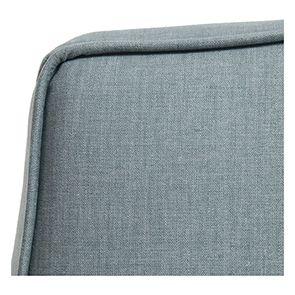 Pouf en hévéa massif gris argenté et tissu vert sauge - Hector - Visuel n°7