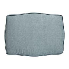 Pouf en hévéa massif gris argenté et tissu vert sauge - Hector - Visuel n°4