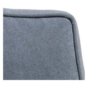 Pouf en frêne massif et tissu effet velours bleu gris - Hector