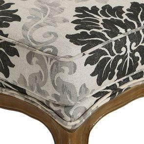 Pouf en frêne  massif et tissu arabesque - Hector - Visuel n°9