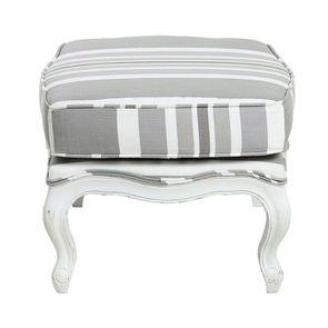 Pouf en frêne massif blanc et tissu gris - Hector - Visuel n°6