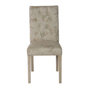 Chaise capitonnée en tissu paradisier et bois blanc - Albane