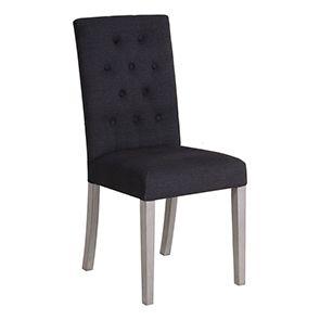 Chaise capitonnée en tissu gris - Albane