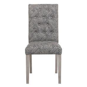 Chaise en tissu mosaïque indigo et hévéa massif noir - Albane - Visuel n°1