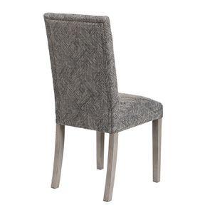 Chaise en tissu mosaïque indigo et hévéa massif noir - Albane - Visuel n°4