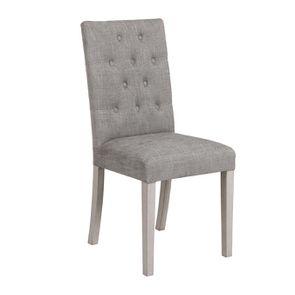 Chaise capitonnée en tissu gris chambray et hévéa - Albane - Visuel n°2