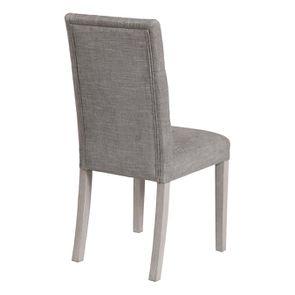 Chaise capitonnée en tissu gris chambray et hévéa - Albane - Visuel n°3