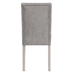Chaise capitonnée en tissu gris chambray et hévéa - Albane - Visuel n°4