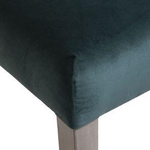 Chaise capitonnée en tissu velours vert bleuté et hévéa - Albane - Visuel n°9