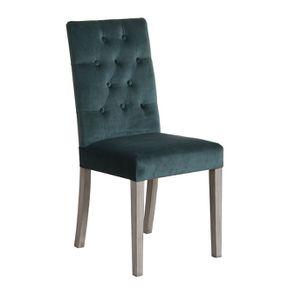 Chaise capitonnée en tissu velours vert bleuté et hévéa - Albane - Visuel n°2