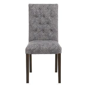Chaise capitonnée en tissu mosaïque indigo et hévéa - Albane