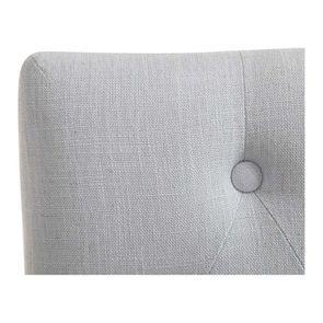 Chaise capitonnée en tissu bleu glacier et frêne - Albane