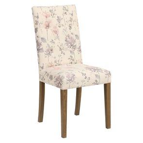 Chaise capitonnée en tissu fleurs opaline - Albane - Visuel n°2