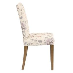 Chaise capitonnée en tissu fleurs opaline - Albane - Visuel n°3