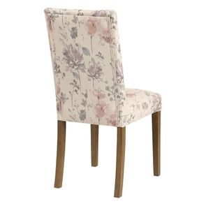 Chaise capitonnée en tissu fleurs opaline - Albane - Visuel n°4