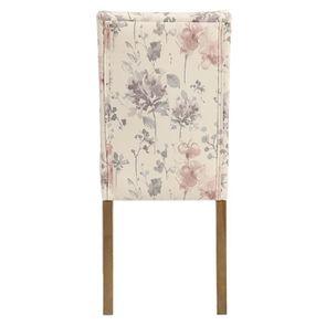 Chaise capitonnée en tissu fleurs opaline - Albane - Visuel n°5