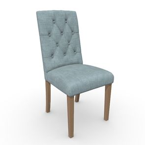 Chaise en tissu vert sauge et frêne massif - Albane