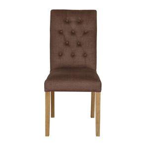 Chaise capitonnée en tissu marron - Albane