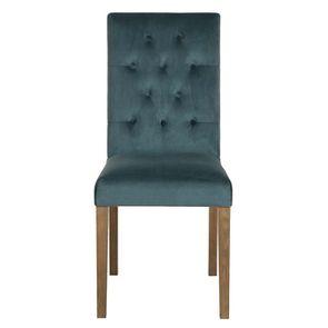Chaise capitonnée en tissu velours vert bleuté et frêne - Albane
