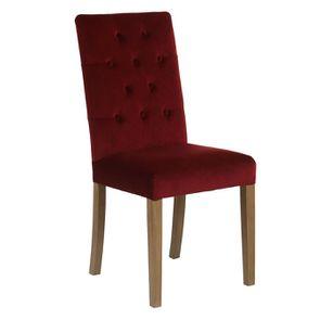 Chaise capitonnée en tissu velours lie de vin - Albane - Visuel n°2