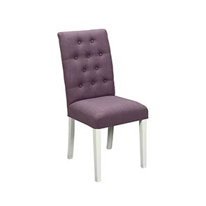 Chaise capitonnée en tissu violet et hévéa - Albane