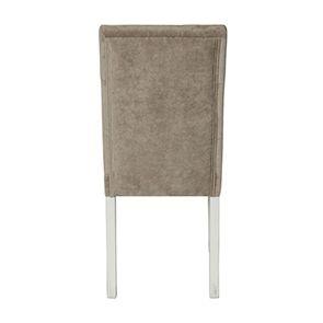 Chaise capitonnée en tissu velours taupe - Albane - Visuel n°3