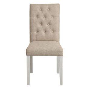 Chaise capitonnée en tissu ficelle et hévéa - Albane
