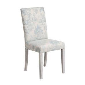 Chaise en hévéa massif gris argenté et tissu toile de Jouy - Romane - Visuel n°2