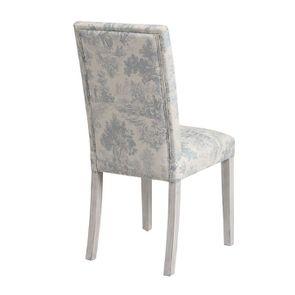 Chaise en hévéa massif gris argenté et tissu toile de Jouy - Romane - Visuel n°3