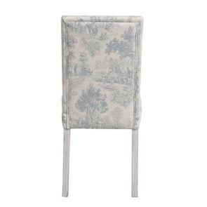 Chaise en hévéa massif gris argenté et tissu toile de Jouy - Romane - Visuel n°4