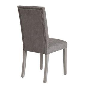 Chaise en hévéa massif et tissu gris chambray - Romane - Visuel n°3