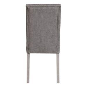 Chaise en hévéa massif et tissu gris chambray - Romane - Visuel n°5