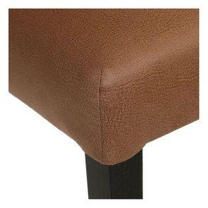 Chaise en hévéa massif noir et éco-cuir cognac - Romane - Visuel n°9